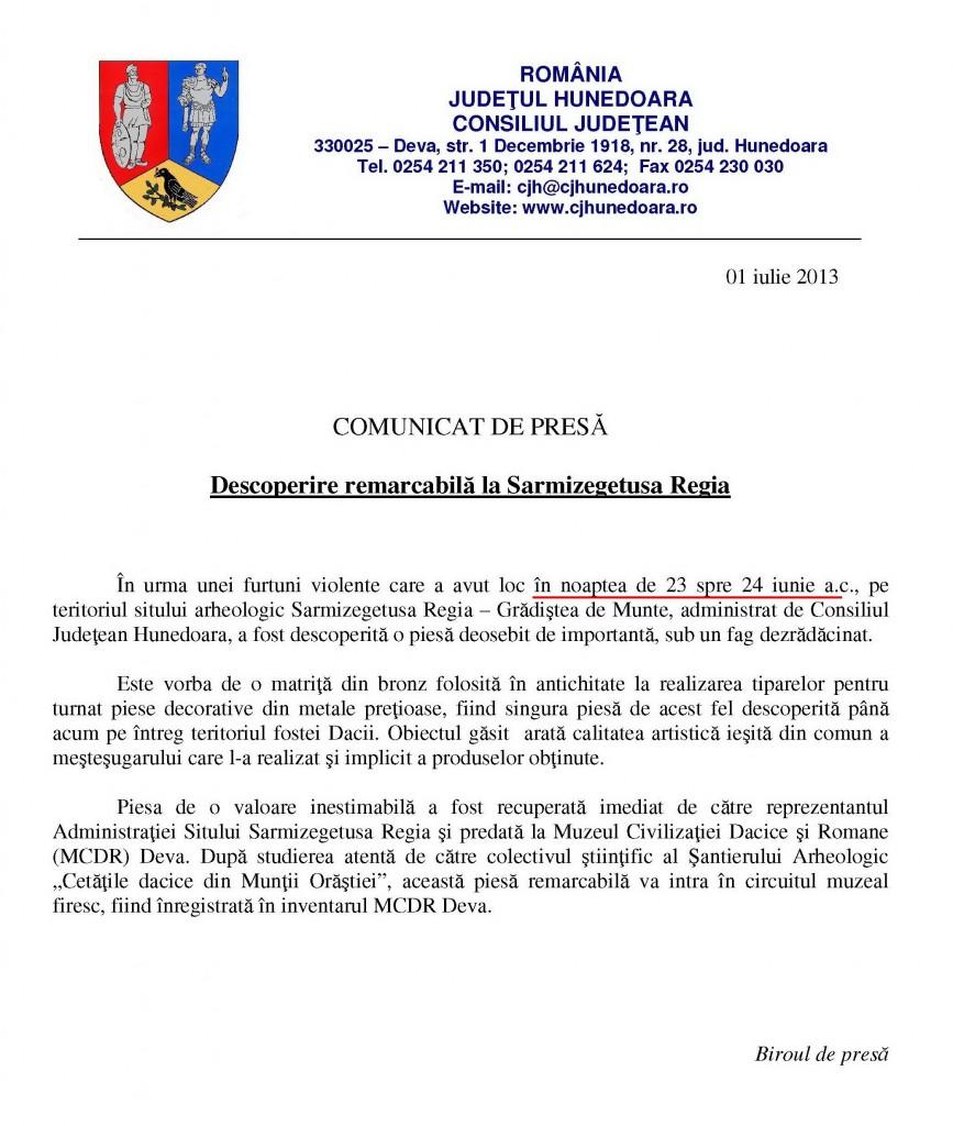 com-de-presa-descoperire-sarmizegetusa-01-07-2013